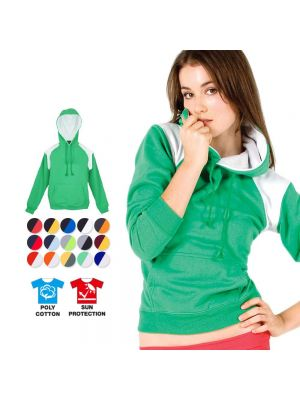 Ramo Ladies/Juniors Shoulder Contrast Panel Hoodie