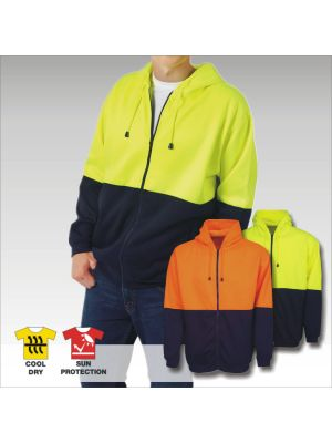 Blue Whale Hi Vis Fleecy Hoodie Full Zip Pocket