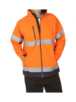 Blue Whale Hooded Hi Vis Soft Shell Jacket D/N Use