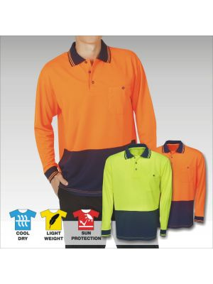 Blue Whale Hi Vis Light Weight Cooldry Polo L/S