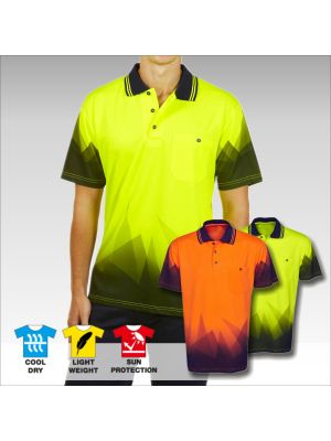 Blue Whale Hi Vis Sublimation Polo Trianglular Design