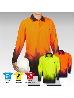 Blue Whale Hi Vis Sublimation Polo Triangular Design L/S
