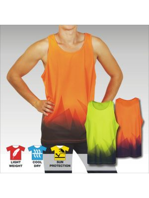 Blue Whale Triangular Design Sublimation Hi Vis Singlet