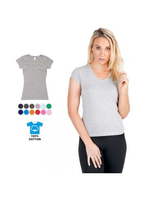 Ramo Ladies 100% Cotton V-Neck Slim Fit Tee
